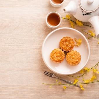Bovenaanzicht van maancake voor mid-autumn festival-vakantie
