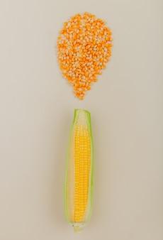 Bovenaanzicht van maïskolf en maïs zaden op wit