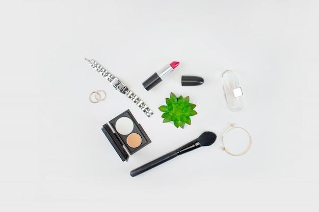 Bovenaanzicht van make-up tools