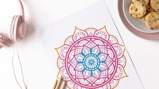 Bovenaanzicht van mandala concept