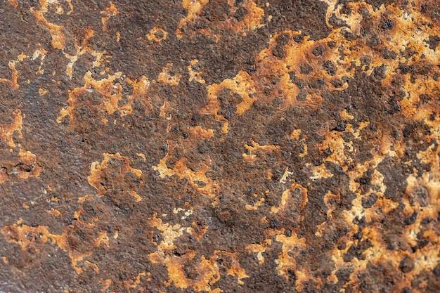 Bovenaanzicht van metalen oppervlak met roest