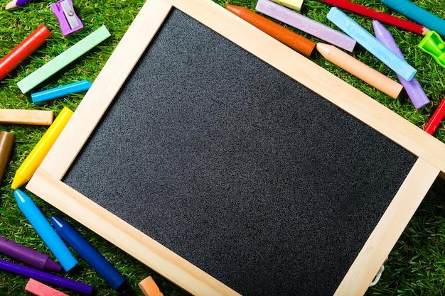 Bovenaanzicht van mini schoolbord