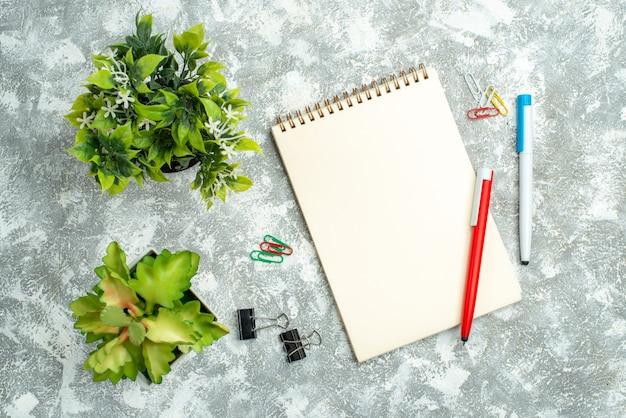 Bovenaanzicht van mooie bloem in witte en bruine potten notebook met pennen op witte achtergrond
