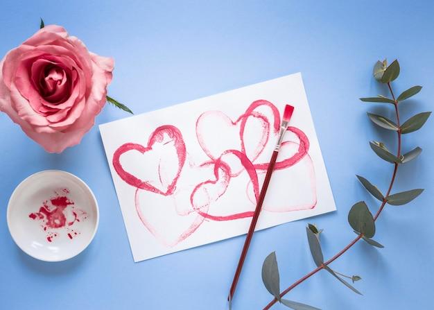Bovenaanzicht van mooie valentijnsdag concept
