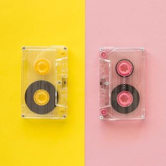 Bovenaanzicht van muziek concept met cassette