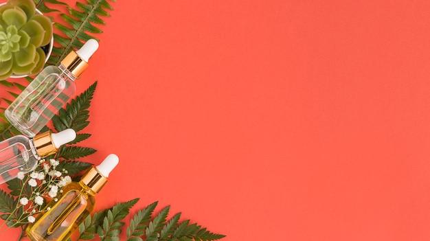 Bovenaanzicht van natuurlijke cosmetica met kopie ruimte