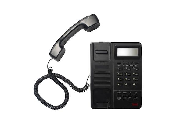 Bovenaanzicht van nieuwe zwarte telefoon op witte achtergrond met uitknippad