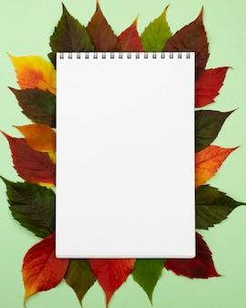 Bovenaanzicht van notebook met herfstbladeren