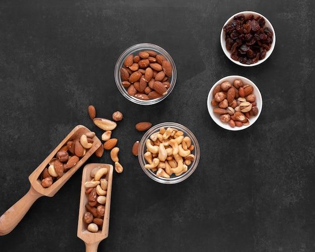 Bovenaanzicht van noten arrangement concept