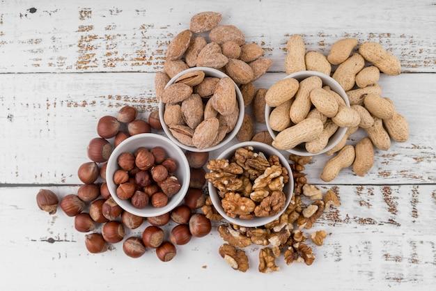 Bovenaanzicht van noten regeling