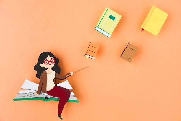 Bovenaanzicht van onderwijsdag concept met kopie ruimte