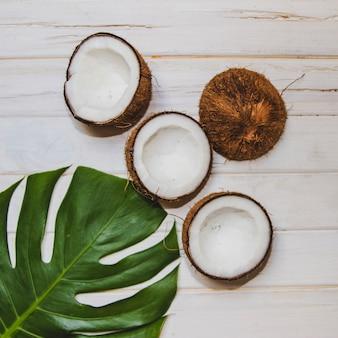 Bovenaanzicht van palmblad en kokosnoten