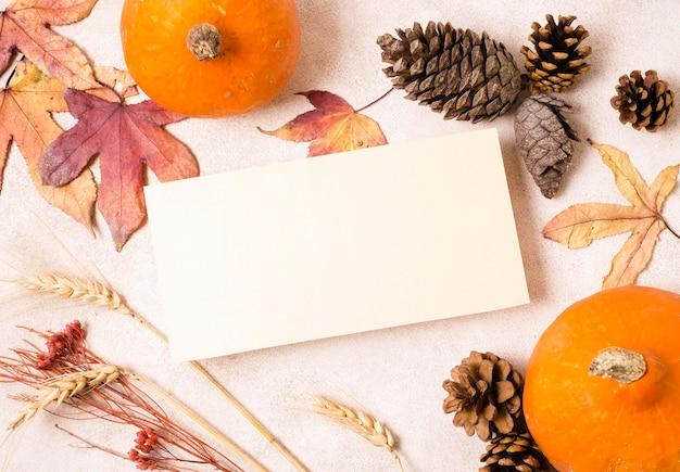 Bovenaanzicht van papier met dennenappels en herfstbladeren