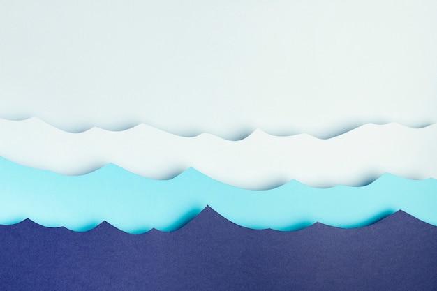 Bovenaanzicht van papier oceaan golven