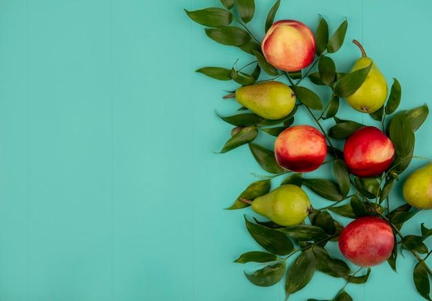 Bovenaanzicht van patroon van fruit als peer en perzik met bladeren aan de rechterkant en blauwe achtergrond met kopie ruimte