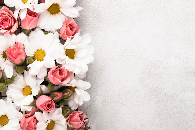Bovenaanzicht van prachtig gekleurde bloemen met kopieerruimte