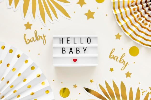 Bovenaanzicht van prachtige baby shower concept