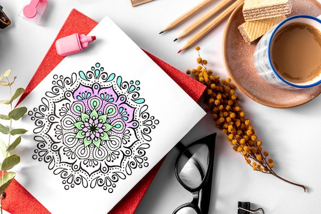 Bovenaanzicht van prachtige mandala concept