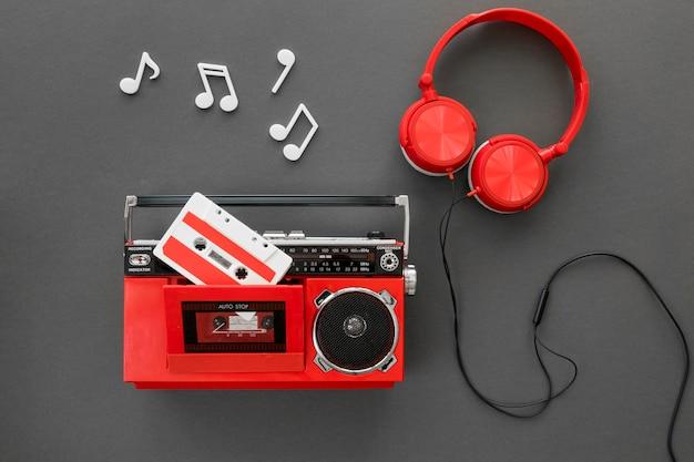 Bovenaanzicht van prachtige muziek concept