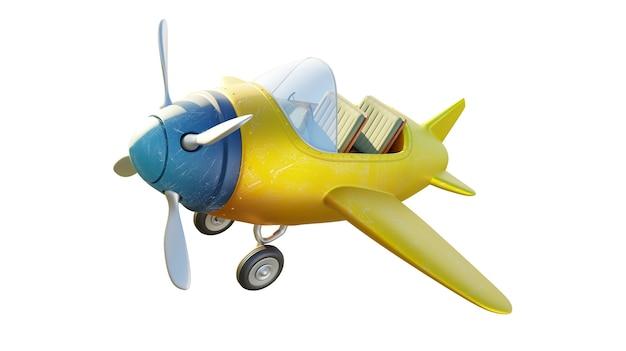 Bovenaanzicht van retro schattig geel en blauw tweezits vliegtuig geïsoleerd op een witte achtergrond. 3d-weergave.