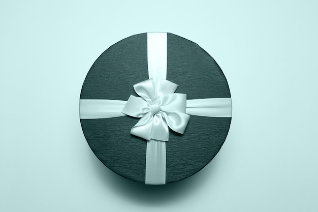 Bovenaanzicht van ronde geschenkdoos.