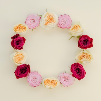 Bovenaanzicht van ronde roos frame