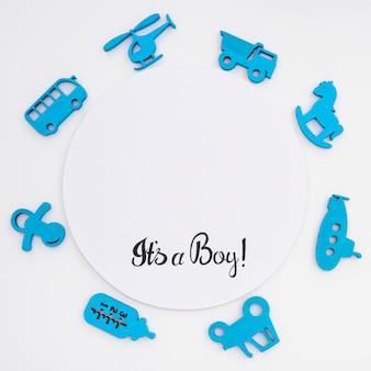 Bovenaanzicht van schattige kleine baby accessoires met kopie ruimte