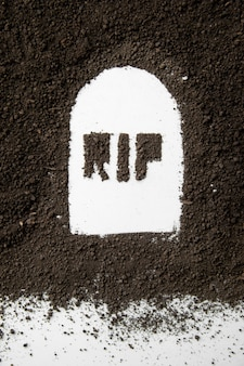 Bovenaanzicht van scheurinscriptie op grafvorm met donkere grond