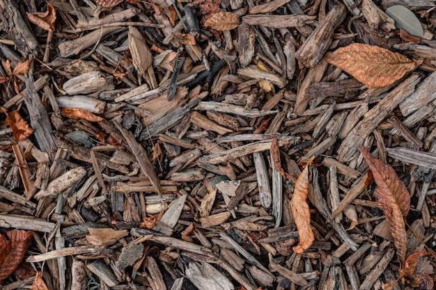 Bovenaanzicht van schors houtsnippers met droge herfstbladeren