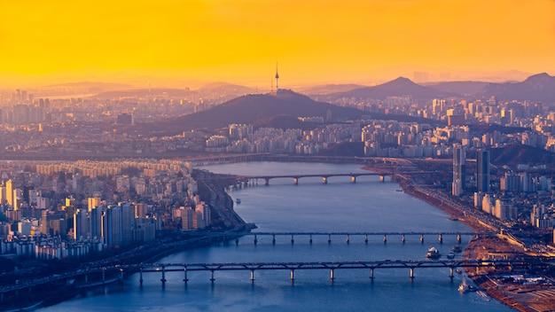 Bovenaanzicht van seoul city skyline