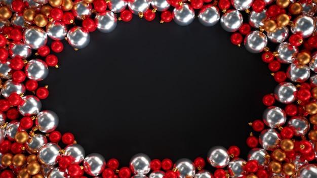 Bovenaanzicht van set van verschillende kerstmisspeelgoed geïsoleerd op donkere achtergrond. nieuwjaar wenskaart, poster. kopieer ruimte voor tekst. 3d-afbeelding