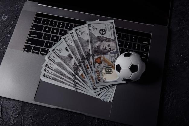 Bovenaanzicht van sport gokken geld