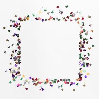 Bovenaanzicht van ster glitter frame concept
