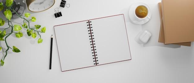 Bovenaanzicht van studietafel met lege notebook boeken potlood en decoraties op wit bureau 3d-rendering 3d illustratie