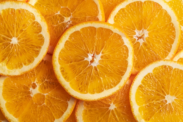 Bovenaanzicht van stukjes sinaasappel