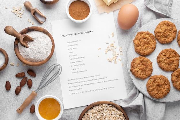 Bovenaanzicht van suikervrije koekjes