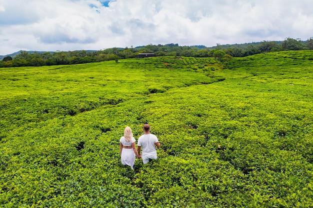 Bovenaanzicht van theeplantages en een verliefd paar in het wit op het eiland mauritius, mauritius.