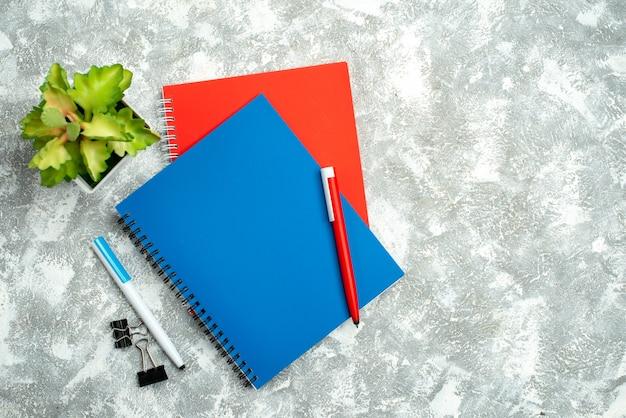Bovenaanzicht van twee kleurrijke gesloten notitieboekjes met pen en bloempot op grijze achtergrond