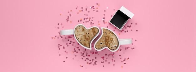 Bovenaanzicht van valentijnsdag concept met kopie ruimte. bekers met koffie, confetti en geschenkdoos voor ring op roze achtergrond.