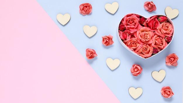 Bovenaanzicht van valentijnsdag conncept met kopie ruimte Gratis Foto