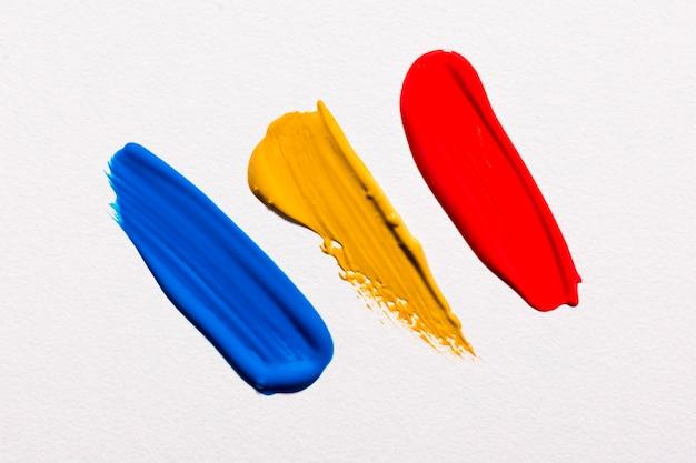 Bovenaanzicht van verf penseelstreken op het oppervlak