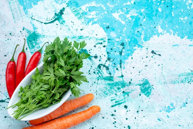Bovenaanzicht van verse groenten geïsoleerd in plaat met pittige rode paprika's en wortelen op helderblauwe, groene bladproduct voedselmaaltijd