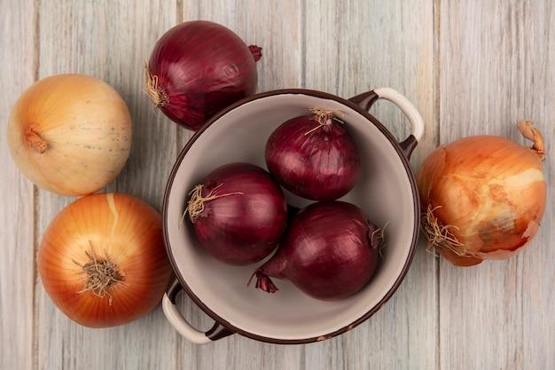 Bovenaanzicht van verse rode uien op een kom met gele en rode uien geïsoleerd op een grijze houten oppervlak