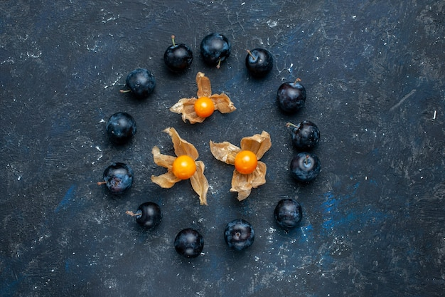 Bovenaanzicht van verse sleedoorns bekleed in cirkel op donker bureau, vers fruit bessen voedsel vitamine gezondheid