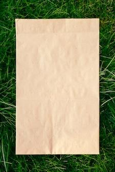 Bovenaanzicht van vierkant frame, creatieve lay-out van gazongroen gras met ambachtelijk milieuvriendelijk pakket.