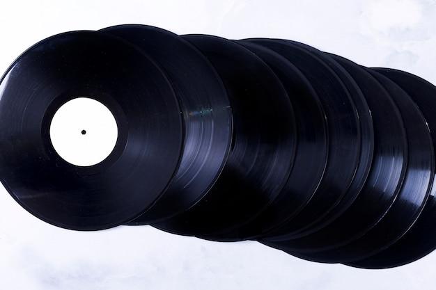 Bovenaanzicht van vinylschijven