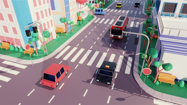 Bovenaanzicht van voertuig rijden langs weg, gebouw en zebrapad.