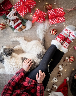 Bovenaanzicht van vrouw in grappige sokken die kerstmis viert met haar hond