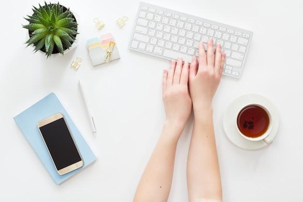 Bovenaanzicht van vrouw zakelijke werkplek met computertoetsenbord, laptop, groene ingemaakte bloem en mobiele telefoon, plat lag.