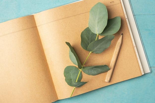 Bovenaanzicht van vrouwelijk bureau, leeg notitieboekje, tak met eucalyptusbladeren en pensil,